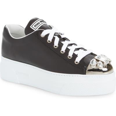 Miu Miu Crystal Cap Toe Sneaker, White