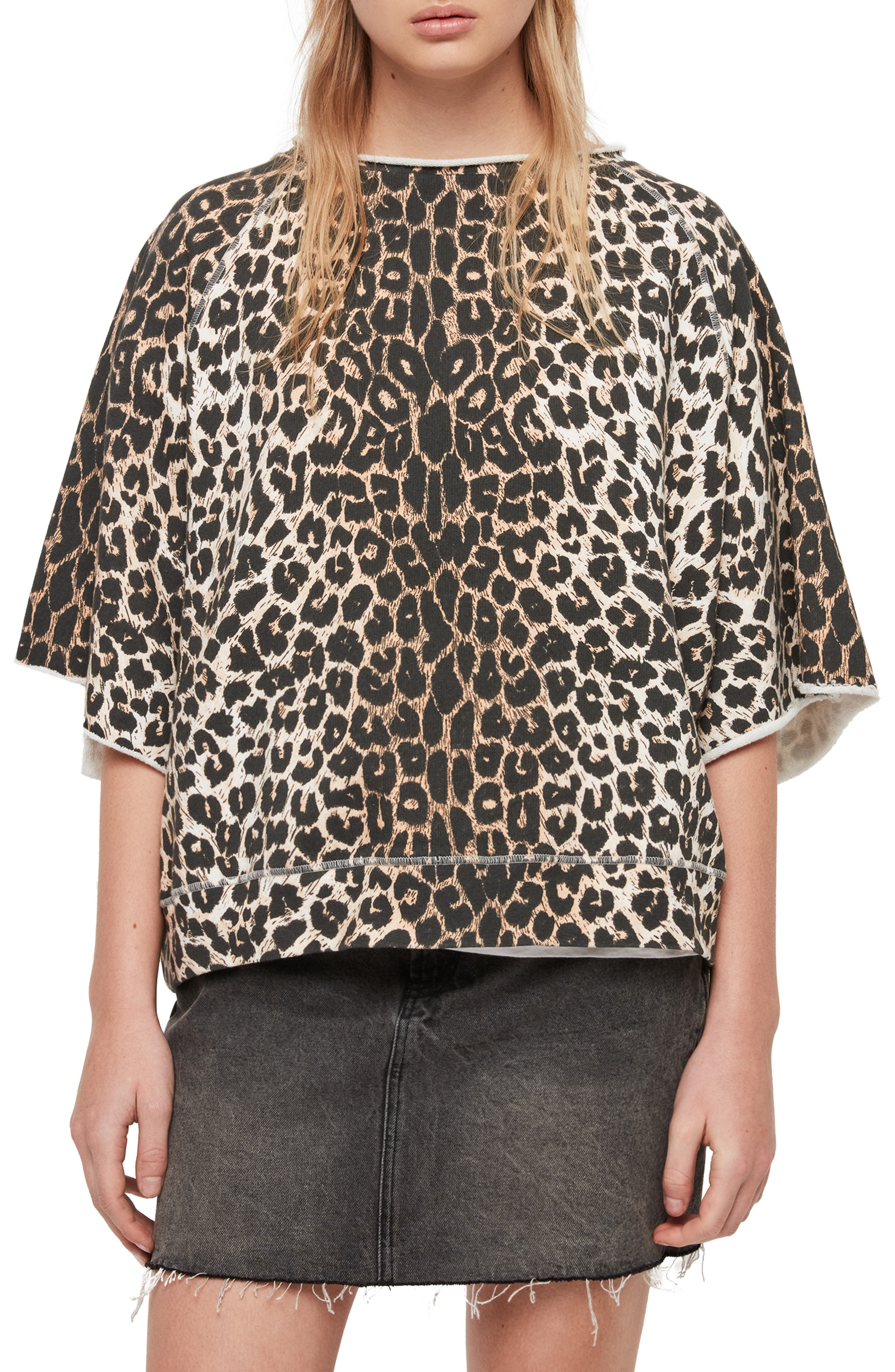 Allsaints Mila Short Sleeve Sweatshirt, Brown