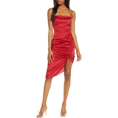 Finders Keepers Emilia Ruched Strappy Satin Dress, Red