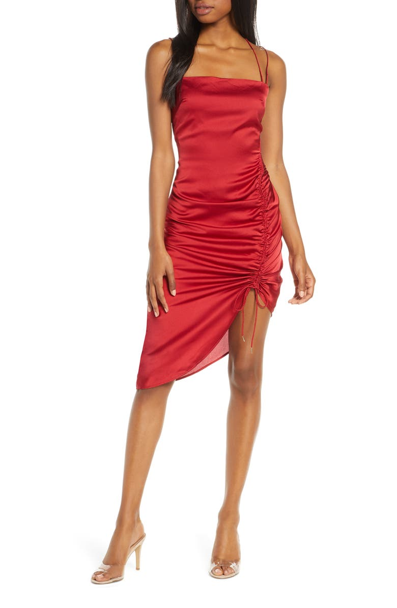 FINDERS KEEPERS Emilia Ruched Strappy Satin Dress, Main, color, RED
