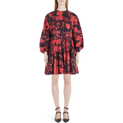 Valentino Floral Print Long Sleeve Tiered Faille Minidress, US / 44 IT - Black