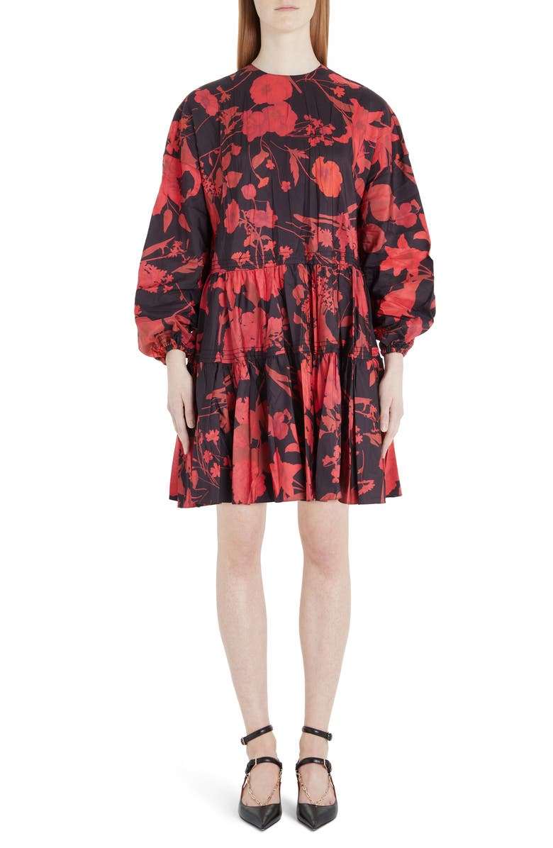 VALENTINO Floral Print Long Sleeve Tiered Faille Minidress, Main, color, 0NR-BLACK/ RED