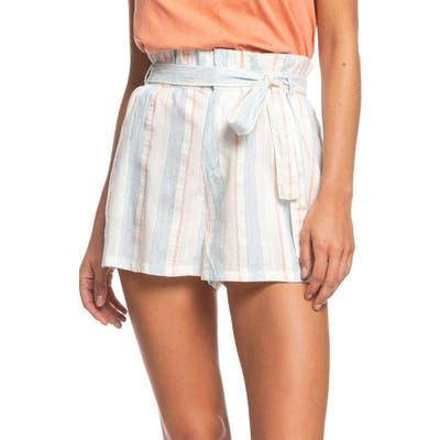 Roxy Morro Bay Yarn Dye Stripe Paperbag Waist Shorts, White