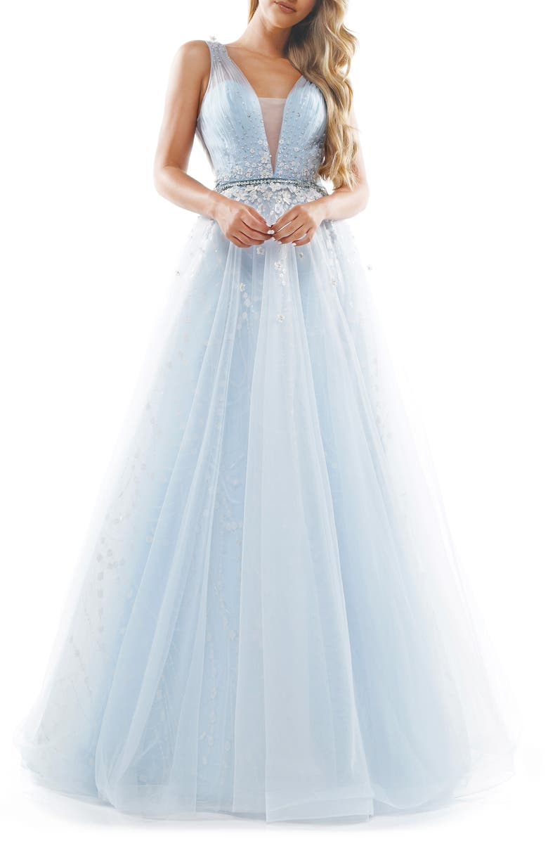 COLORS DRESS Embellished Mesh V-Neck Ballgown, Main, color, LIGHT BLUE
