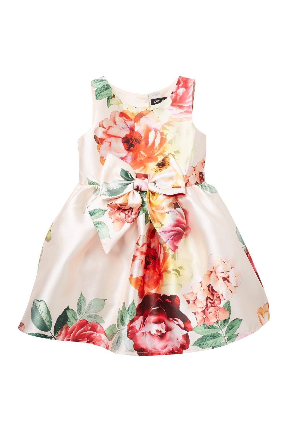 Image of Zunie Mikado Floral Dress w/ Bow