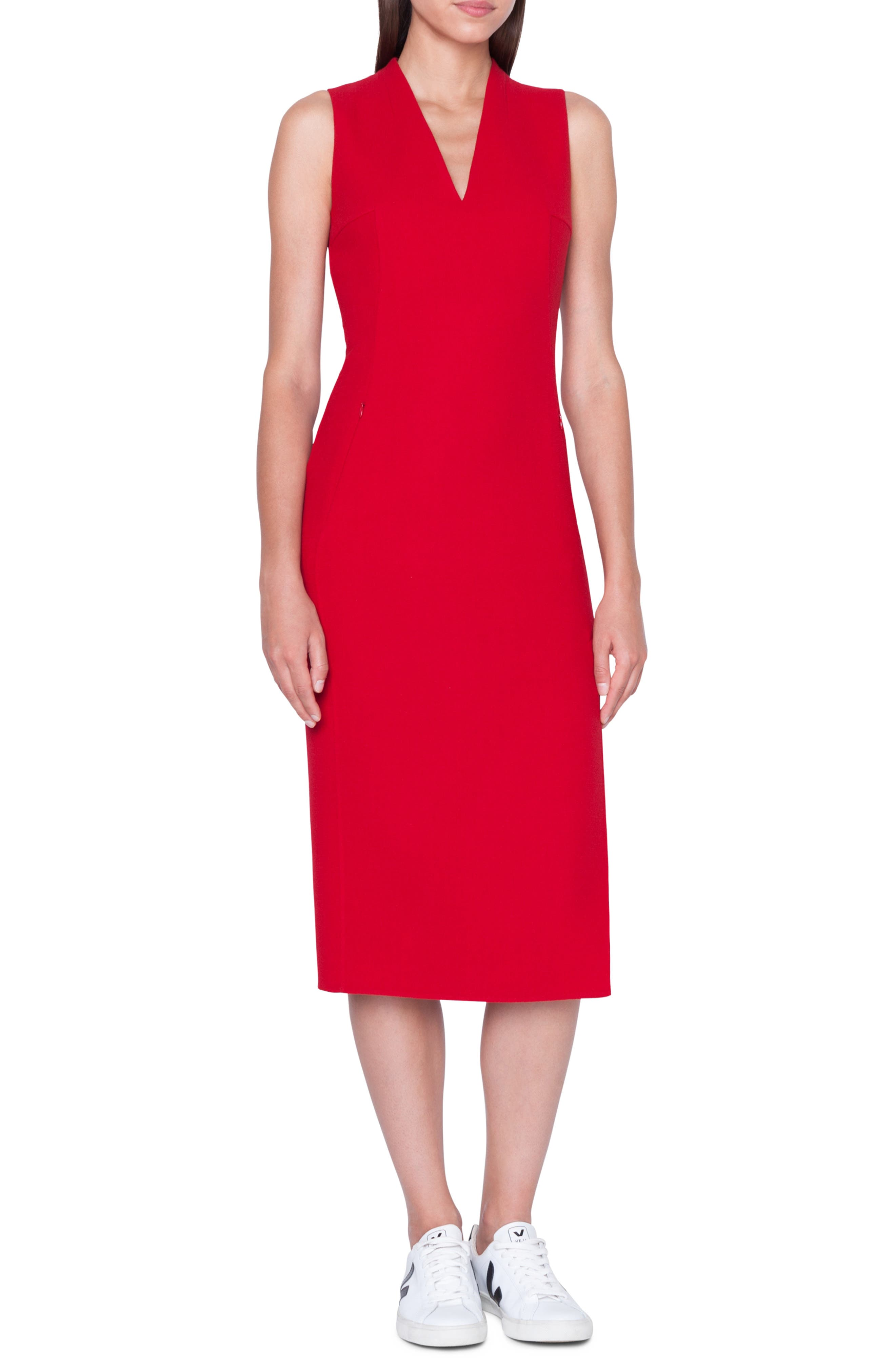 Akris Double Face Wool Crepe Sheath Dress, Red
