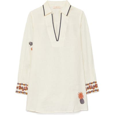 Tory Burch Embroidered Cover-Up Tunic, Ivory