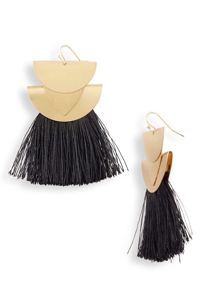 KNOTTY Fringe Drop Earrings, Main, color, GOLD/ BLACK