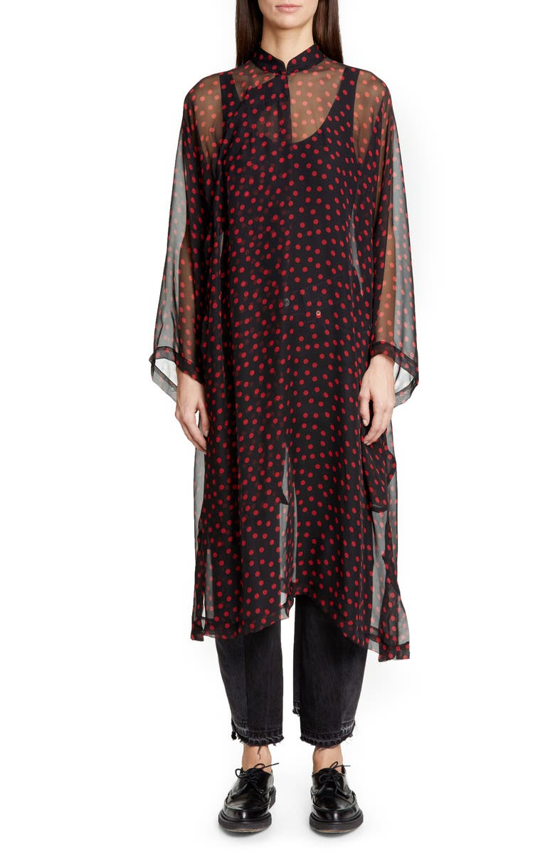 COMME DES GARÇONS Long Sleeve Polka Dot Silk Chiffon Midi Dress, Main, color, 001