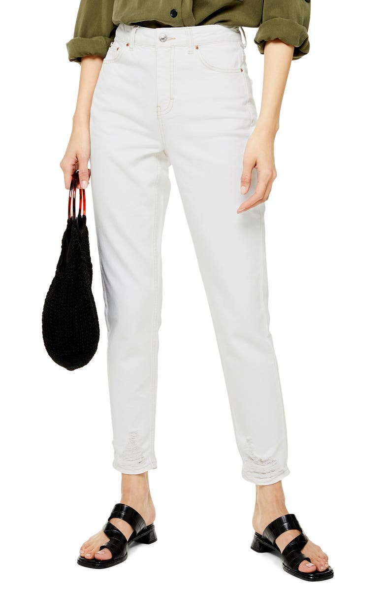 TOPSHOP MOTO Ripped Skinny Jeans, Main, color, 100