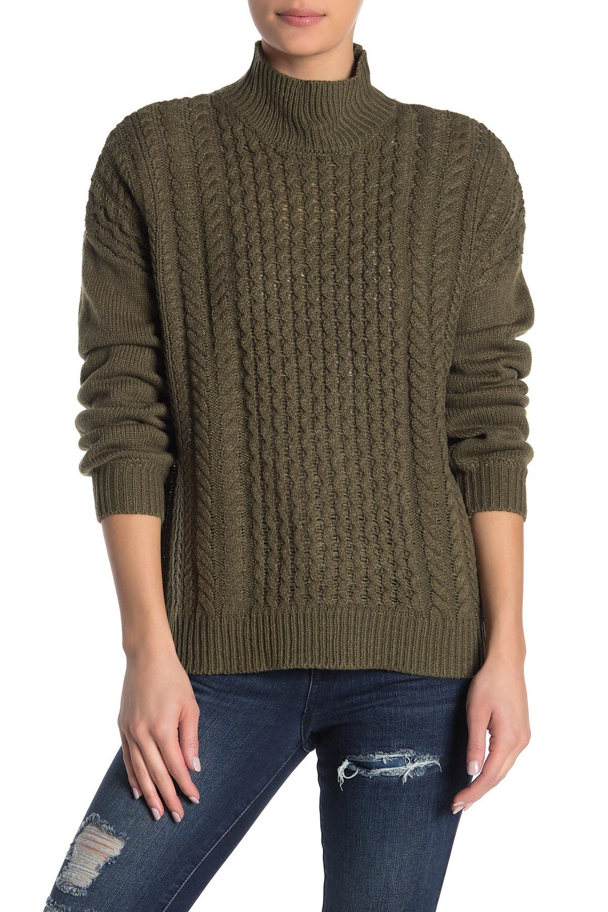 Image of William Rast Mila Mock Neck Cable Knit Sweater
