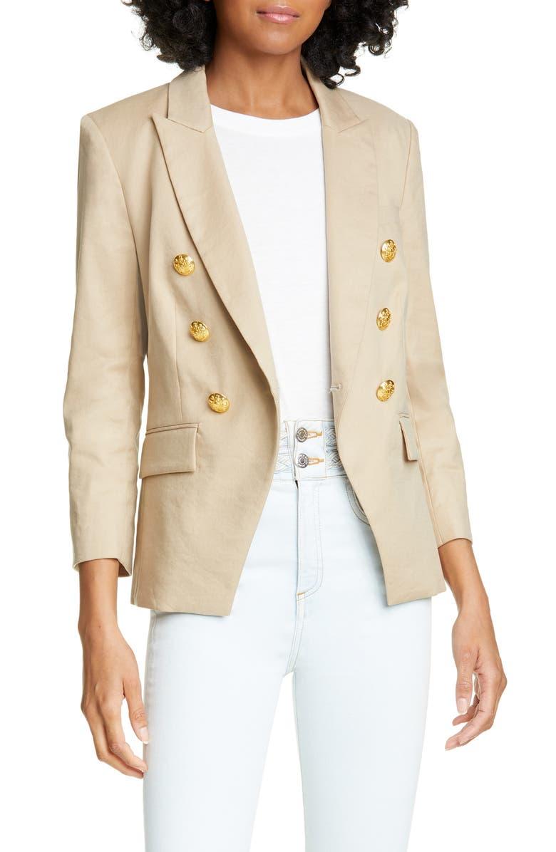 VERONICA BEARD Empire Linen Blend Dickey Jacket, Main, color, KHAKI