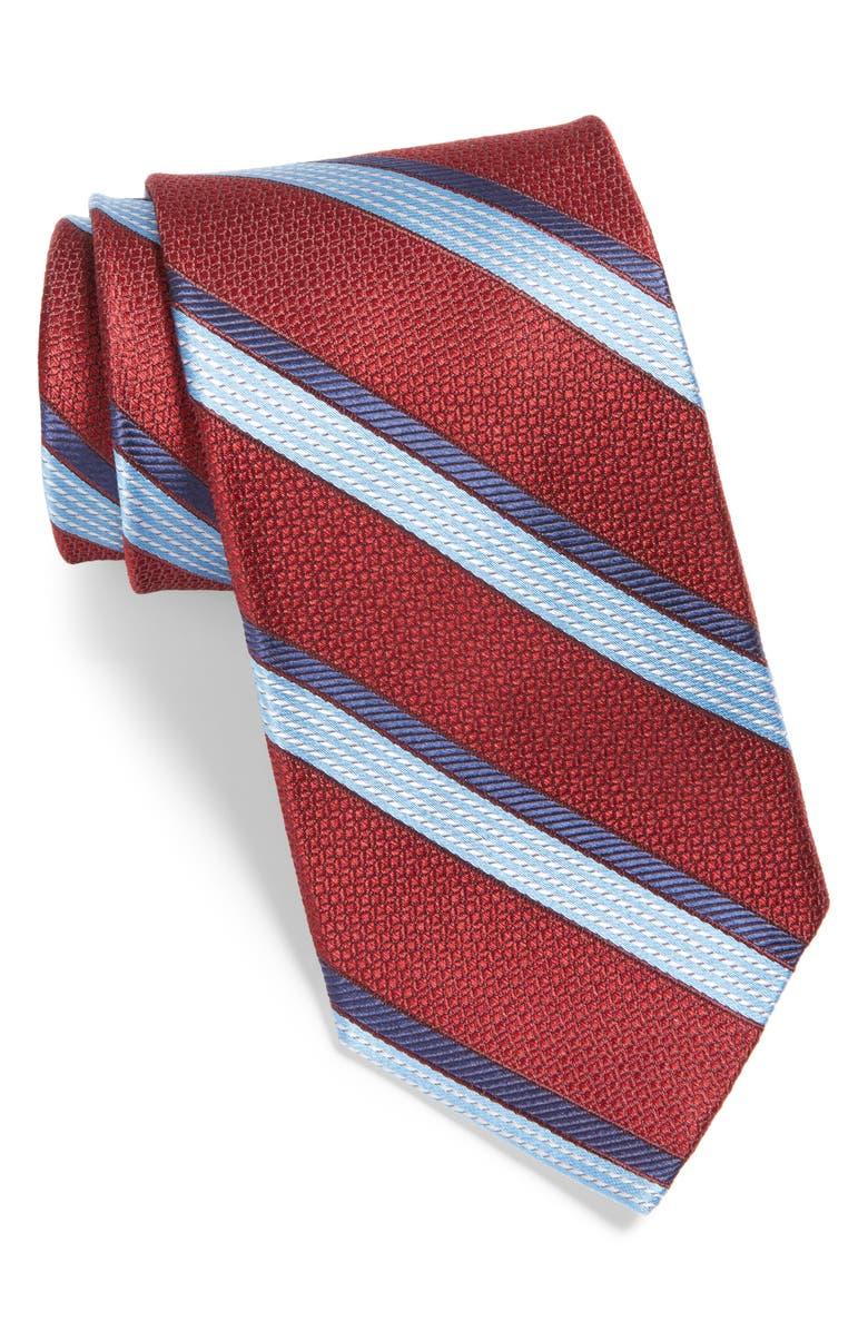 NORDSTROM MEN'S SHOP Stripe Silk Tie, Main, color, RED