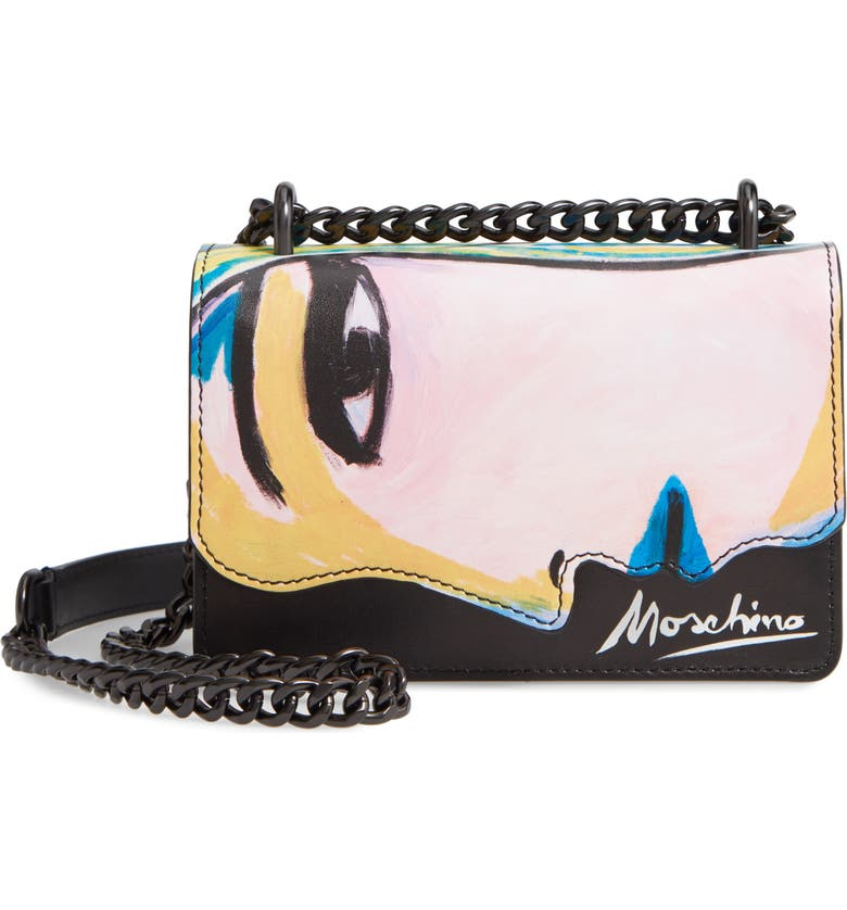 MOSCHINO Face Print Leather Shoulder Bag, Main, color, FANTASY PRINT BLACK