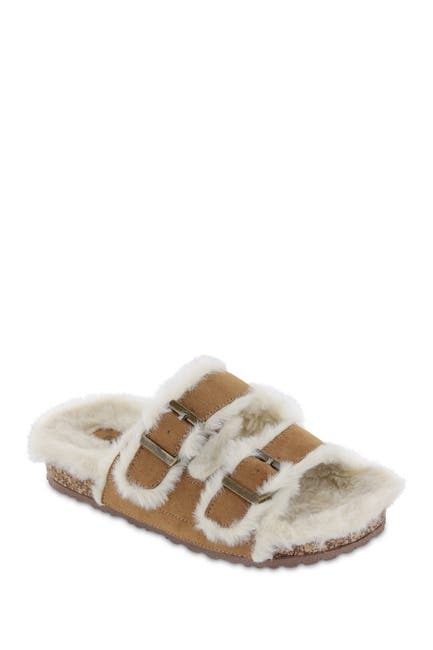 Image of MIA Rozy Faux Fur Dual Buckle Slide