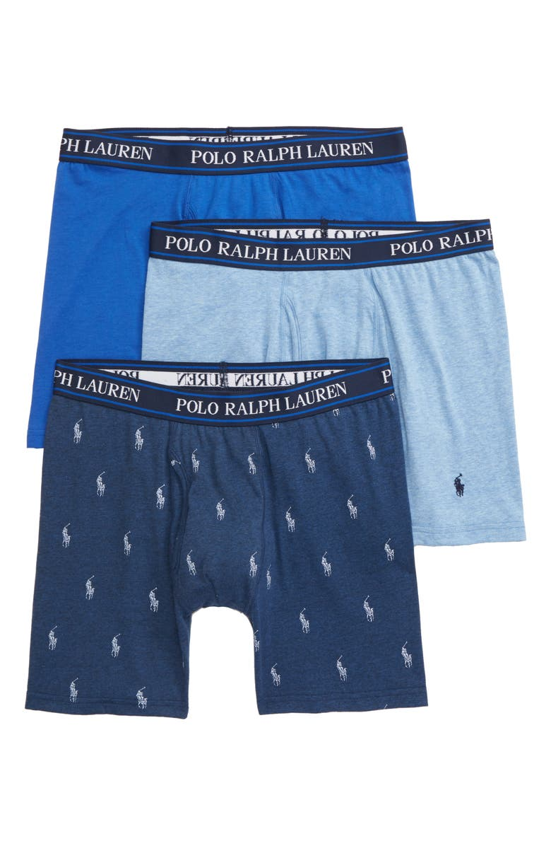 POLO RALPH LAUREN 3-Pack Cotton Blend Boxer Briefs, Main, color, BLUE