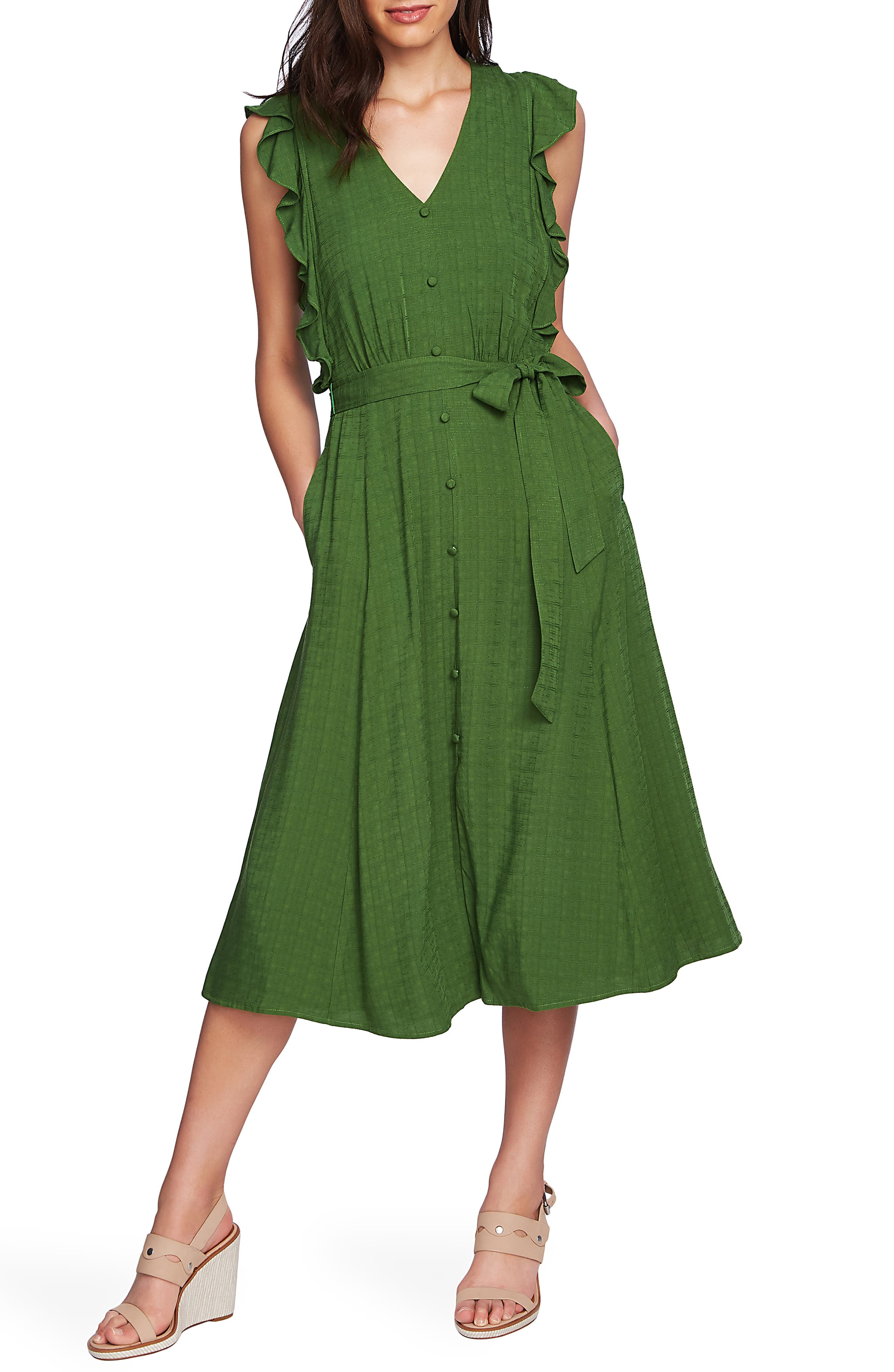 1.state Ruffle Tie Waist Midi Dress, Green