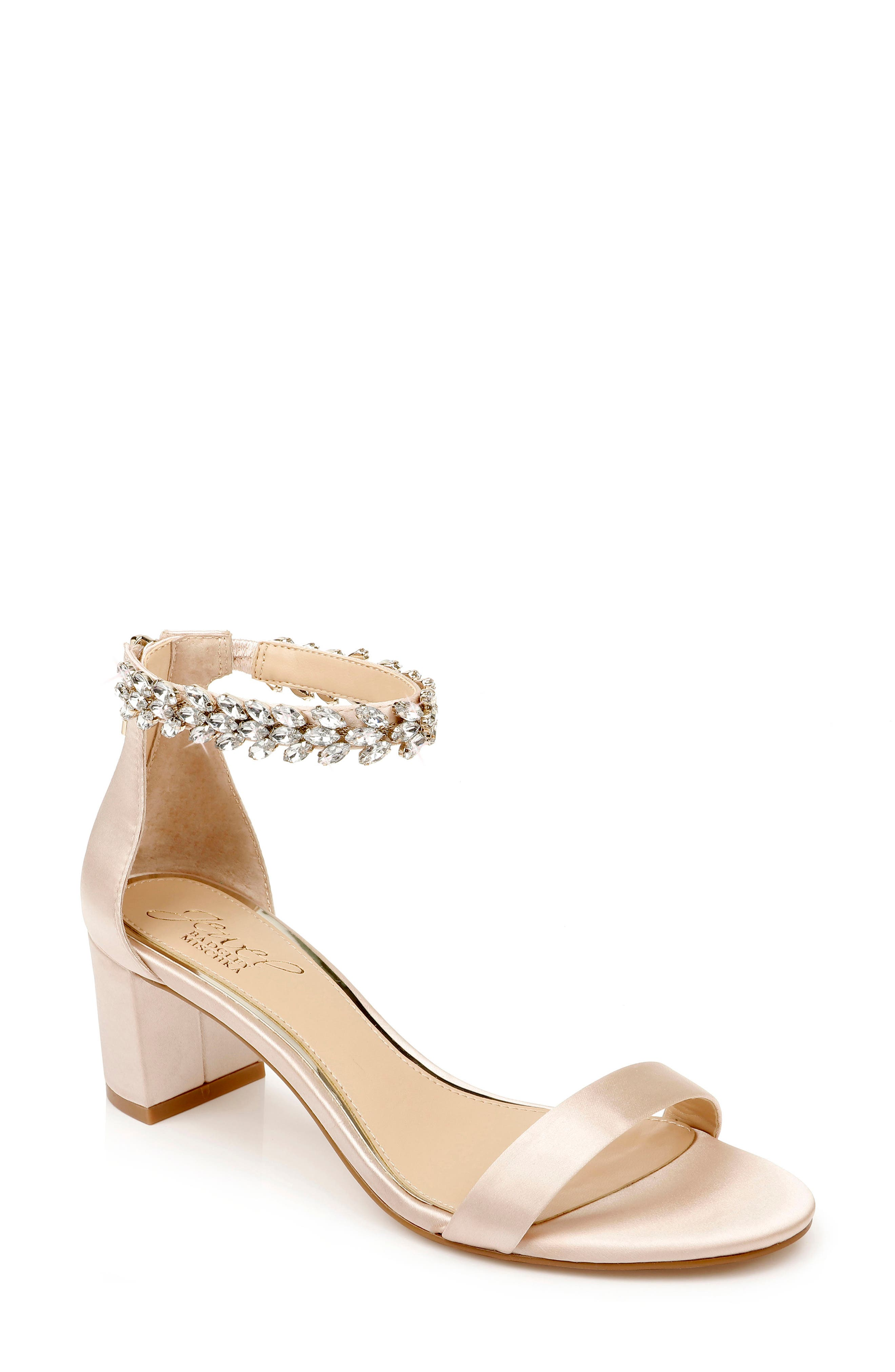 Sparkling crystals embellish an event-ready, ankle-strap sandal made with a half-moon heel for a sure step on the dance floor. Style Name: Jewel Badgley Mischka Bradley Ankle Strap Sandal (Women). Style Number: 5913719. Available in stores.