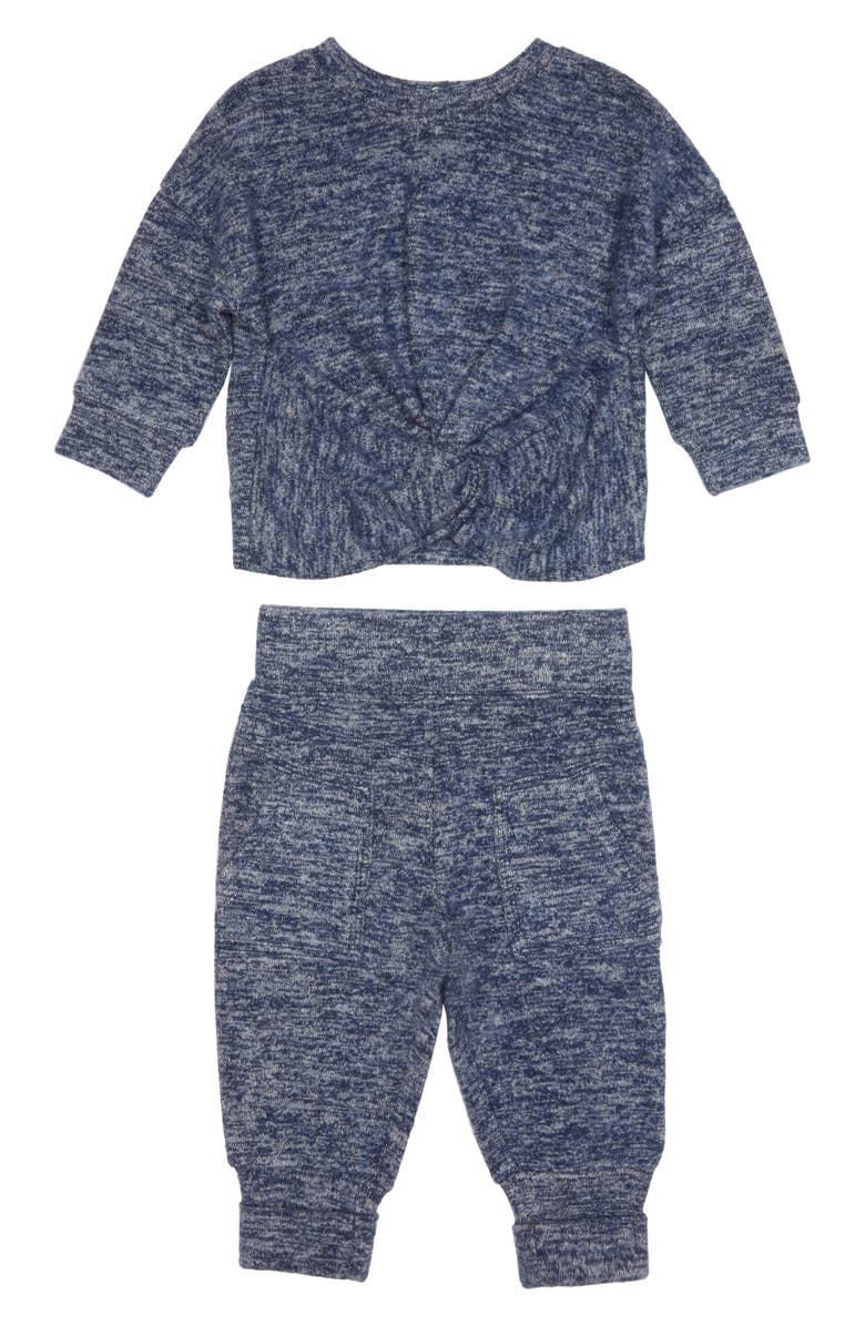 HABITUAL Harlow Twist Hacci Knit Top & Jogger Pants Set, Main, color, INDIGO