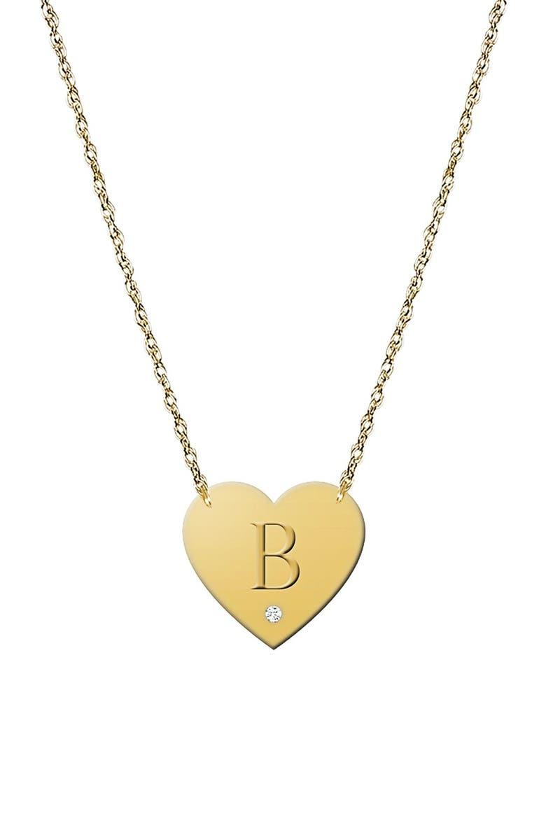 JANE BASCH DESIGNS Diamond & Initial Pendant Necklace, Main, color, GOLD - B