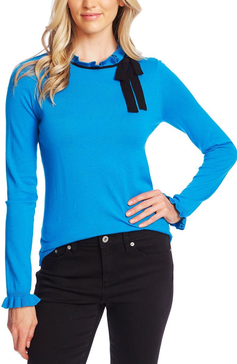 CECE Ruffle Bow Neck Sweater, Main, color, CERULEAN