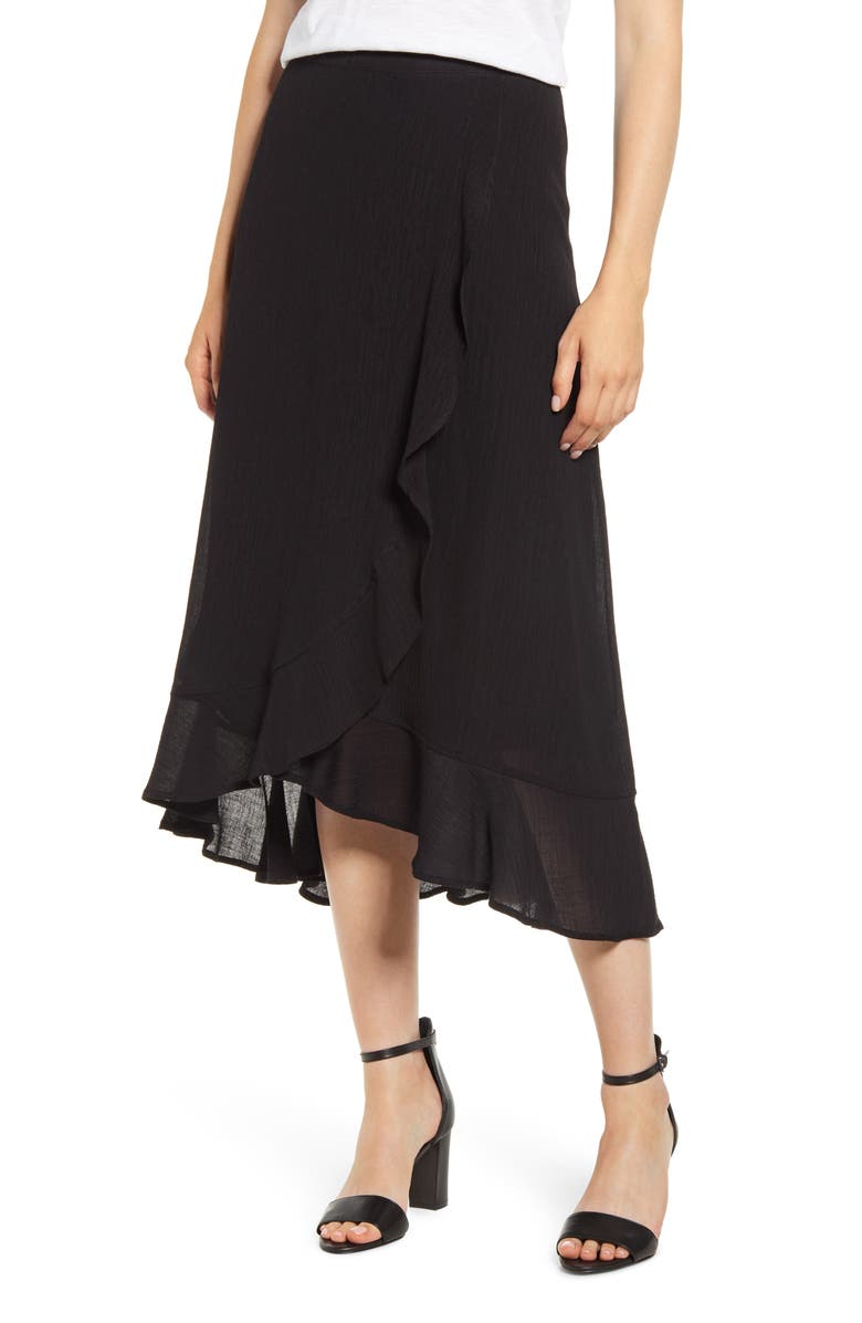 TOMMY BAHAMA Oasis Waves Flounce Skirt, Main, color, BLACK