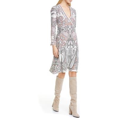 Etro Paisley Print Silk Faux Wrap Dress, US / 40 IT - White