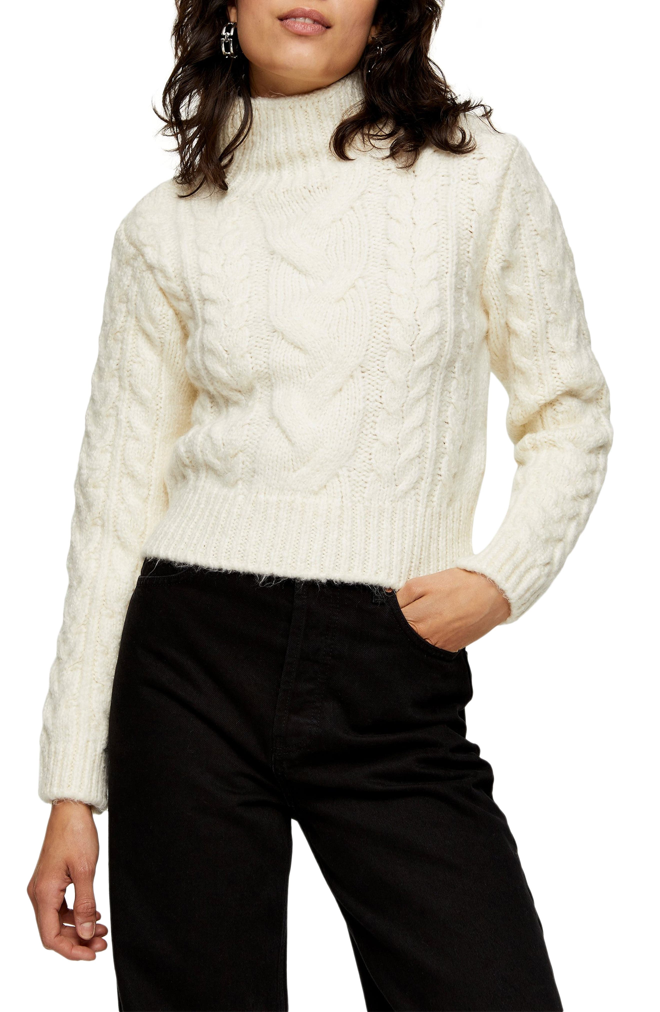 1930s Style Sweaters | Vintage Sweaters Womens Topshop Cable Roll Crop Sweater $68.00 AT vintagedancer.com