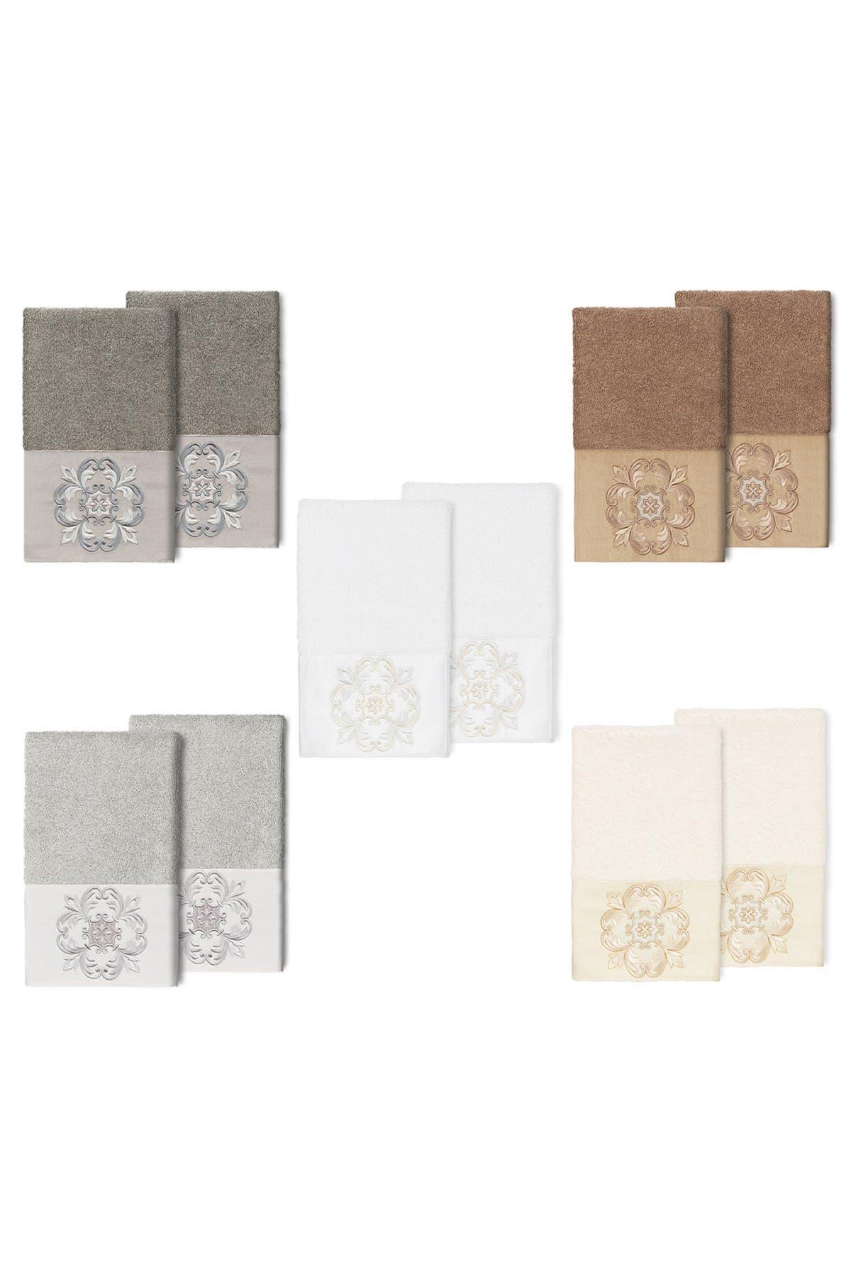 Image of LINUM HOME Alyssa Embellished Hand Towel - Set of 2 - White