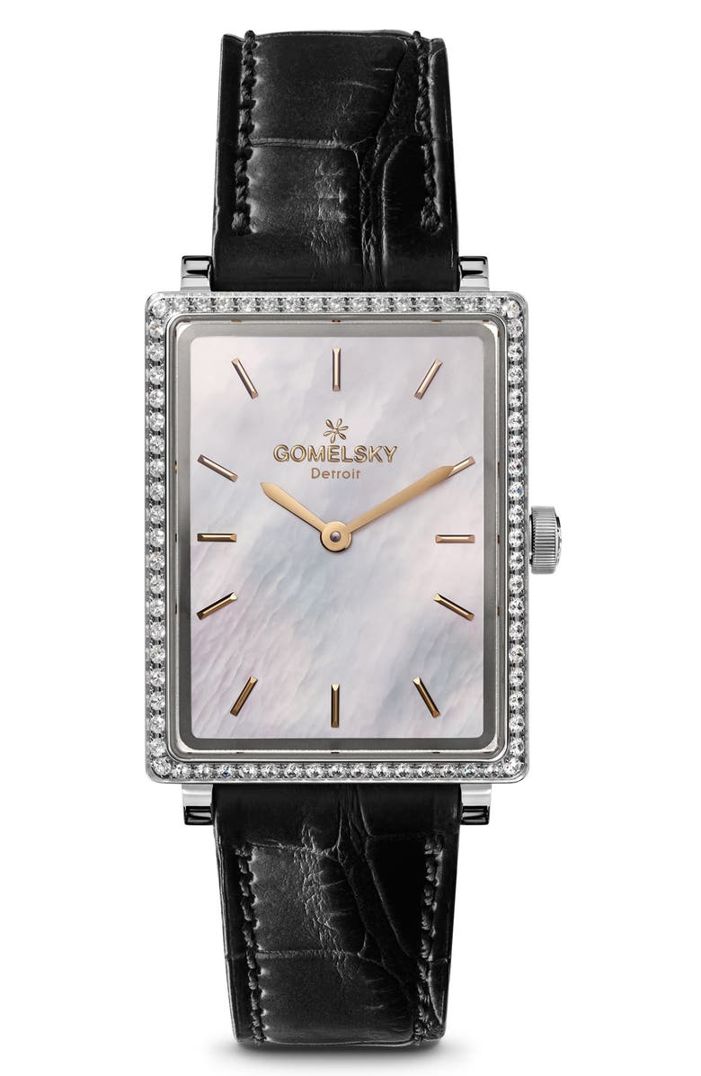 Gomelsky The Shirley Fromer Diamond Alligator Strap Watch 25mm X 32mm