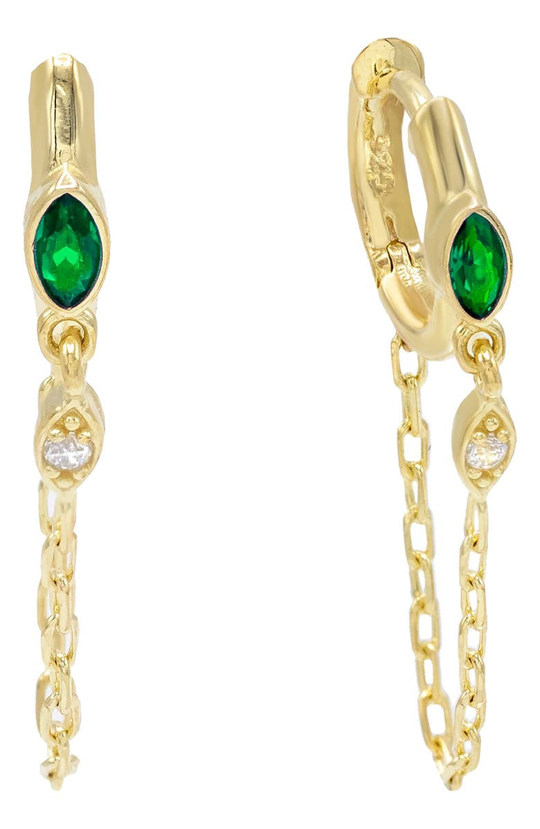 ADINA'S JEWELS Adina's Jewels Marquise Stone Chain Huggie Hoop Earrings, Main, color, GREEN