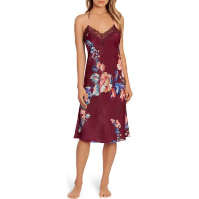 In Bloom By Jonquil Lenox Floral Midi Satin Nightgown, Burgundy