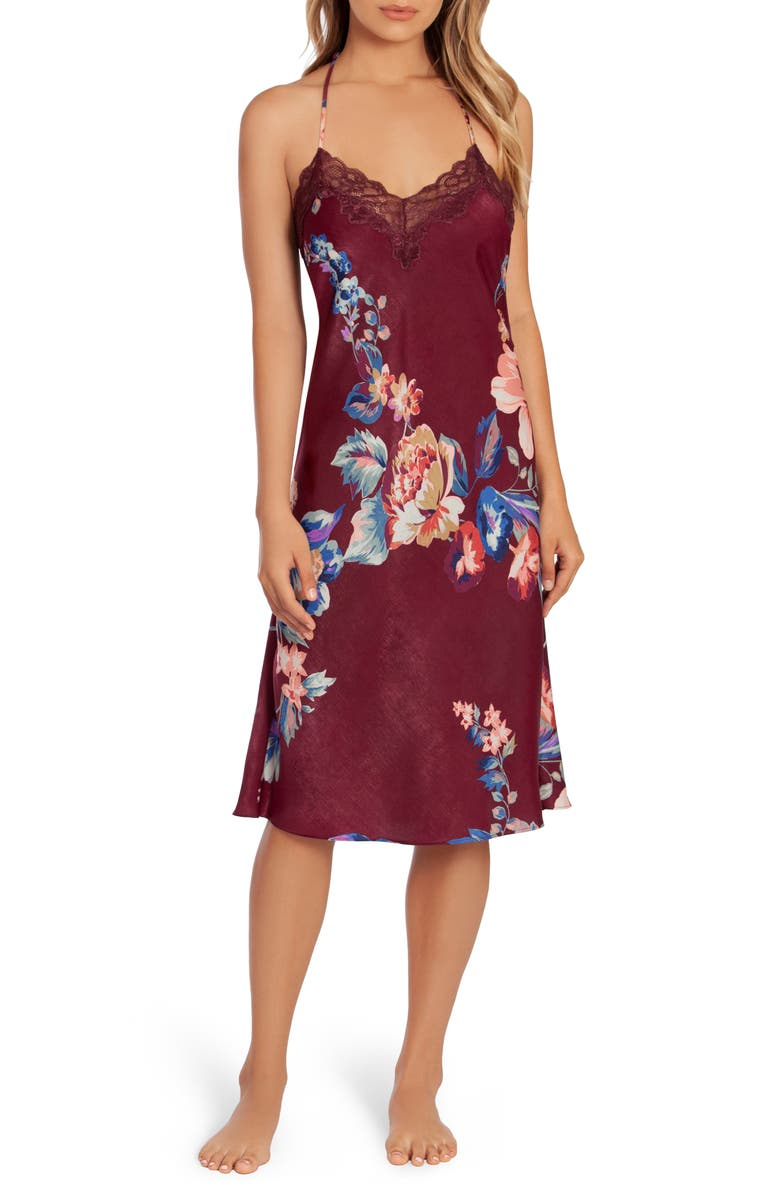 IN BLOOM BY JONQUIL Lenox Floral Midi Satin Nightgown, Main, color, BURGUNDY