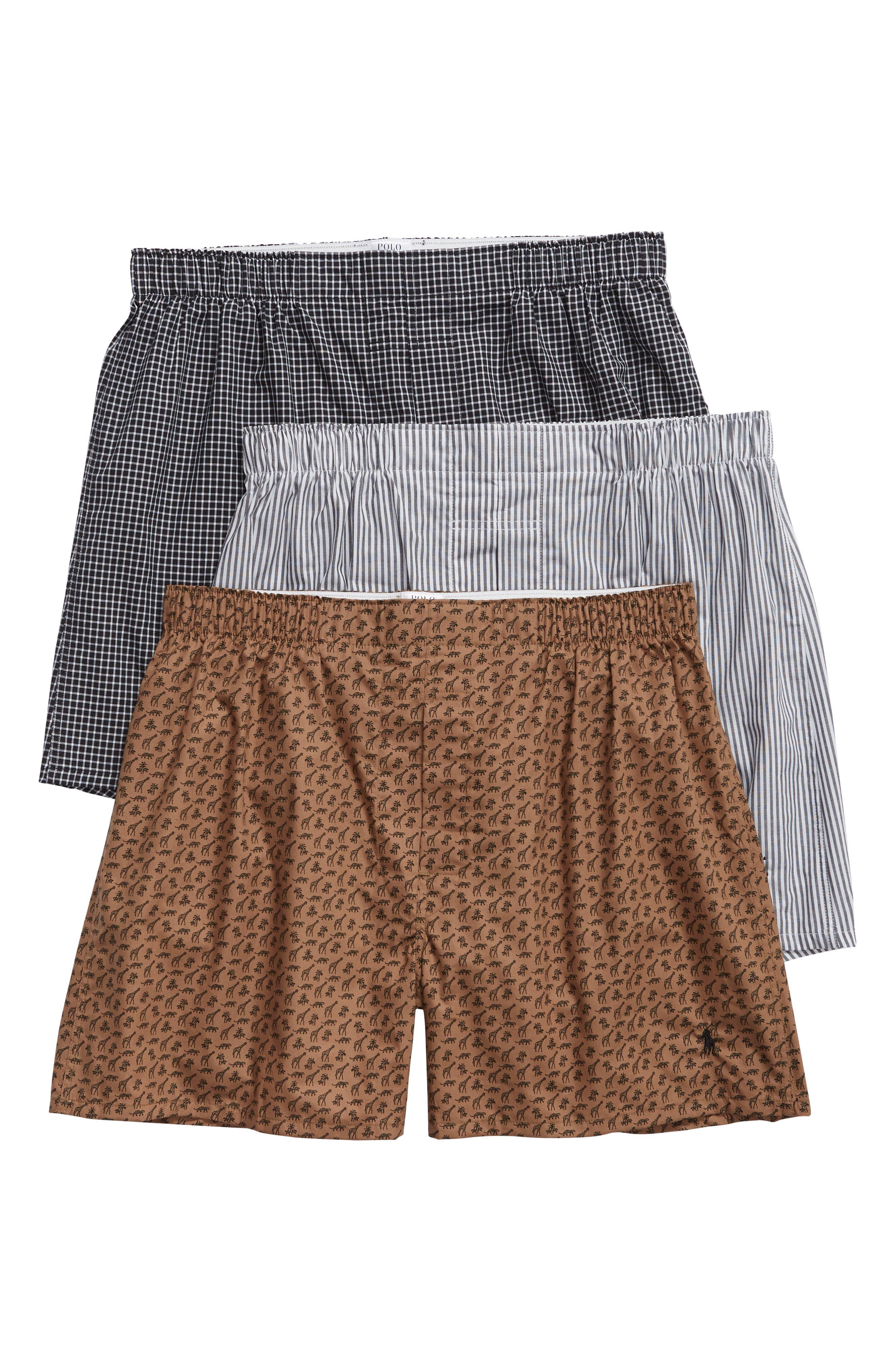 3-Pack Woven Boxers, Main, color, GIRAFFE/ TREVOR/ JAMES