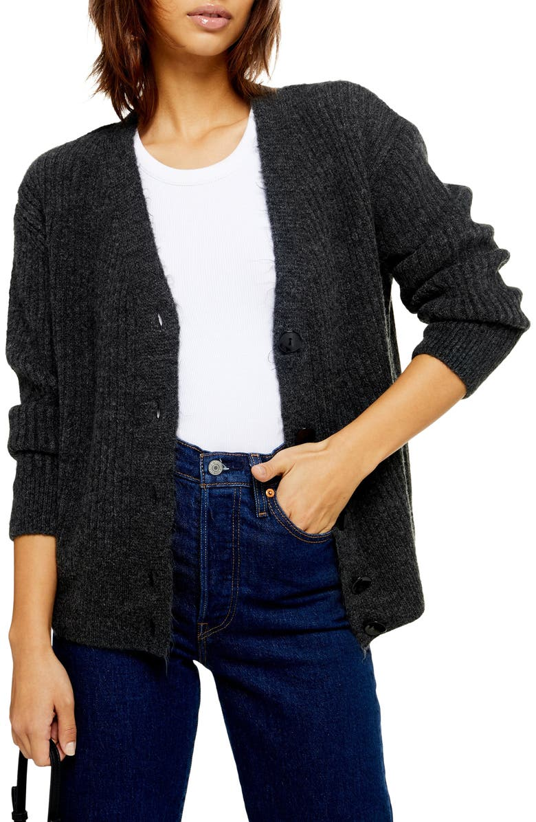 TOPSHOP Button Front Cardigan, Main, color, CHARCOAL