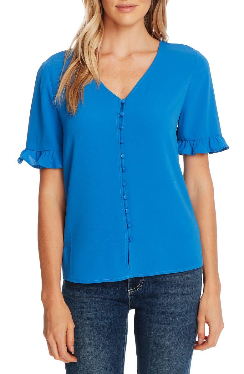 CECE Ruffle Sleeve Crepe Blouse, Main, color, BLUE JAY