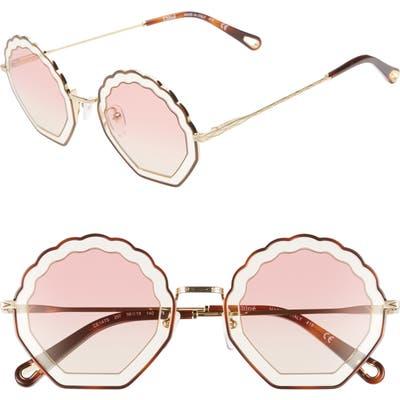 Chloe Tally 5m Scalloped Sunglasses - Havana/ Sand/ Gradient Rose