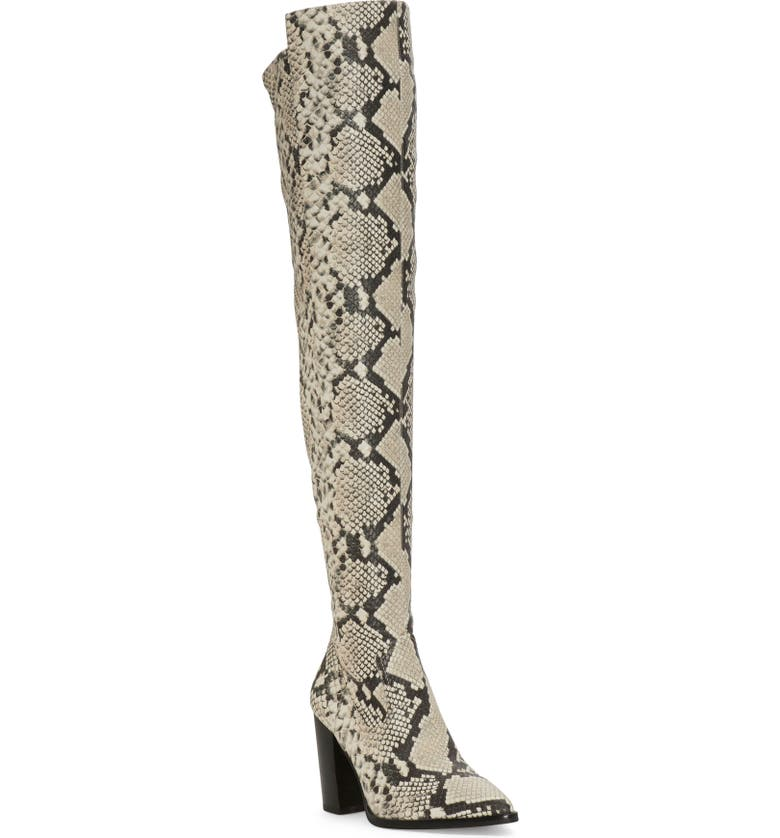 VINCE CAMUTO Cottara Over the Knee Boot, Main, color, BLACK WHITE LEATHER