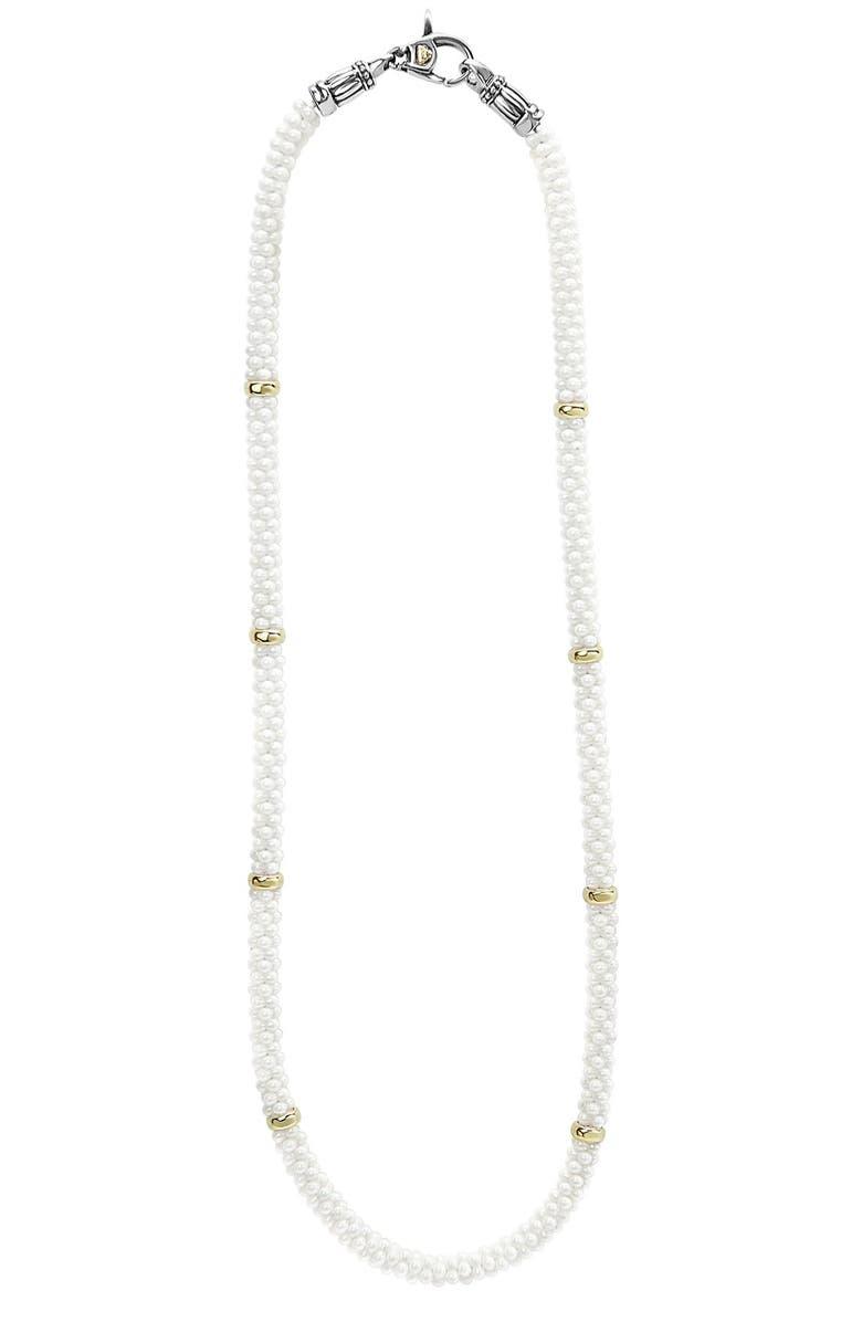 LAGOS 'White Caviar' 5mm Beaded Station Necklace, Main, color, WHITE CAVIAR
