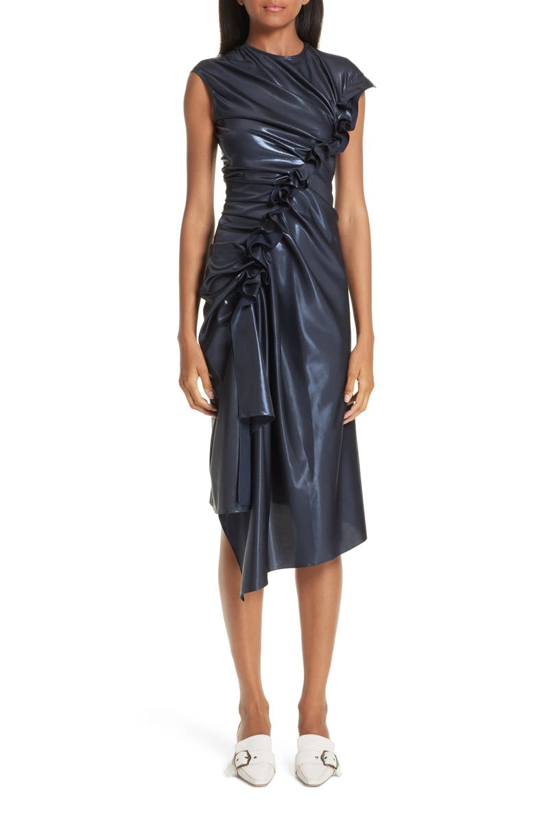 SIES MARJAN Fleur Ruched Ruffle Laminated Dress, Main, color, 450