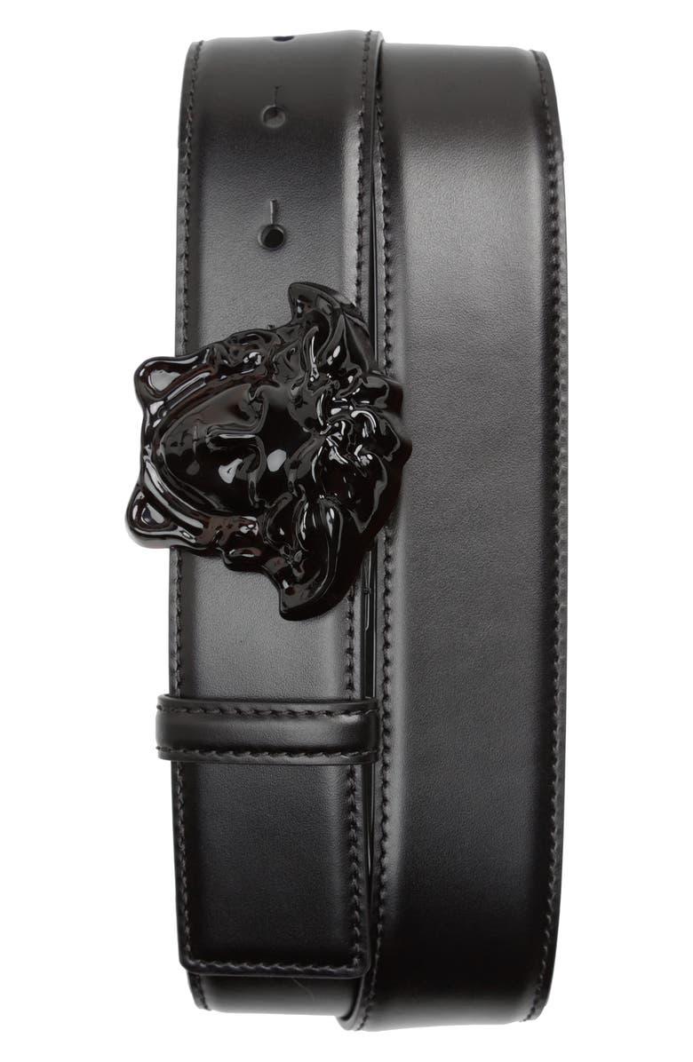 VERSACE Medusa Head Leather Belt, Main, color, 001