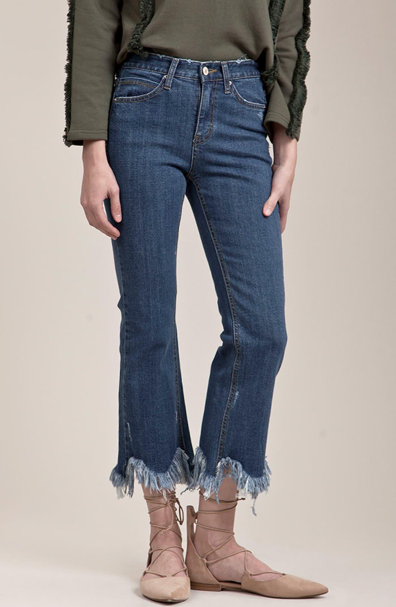 ,                             Frayed Hem High Rise Crop Jeans,                             Alternate thumbnail 18, color,                             436