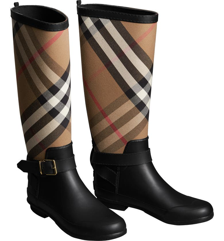 BURBERRY Check Rain Boot, Main, color, 001