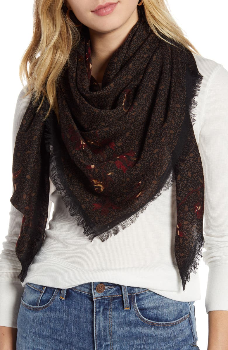 TREASURE & BOND Print Wool Scarf, Main, color, 001