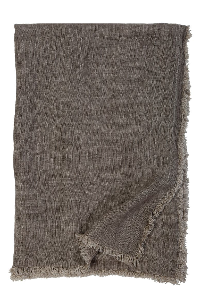 POM POM AT HOME Laurel Oversized Linen Throw Blanket, Main, color, PEBBLE