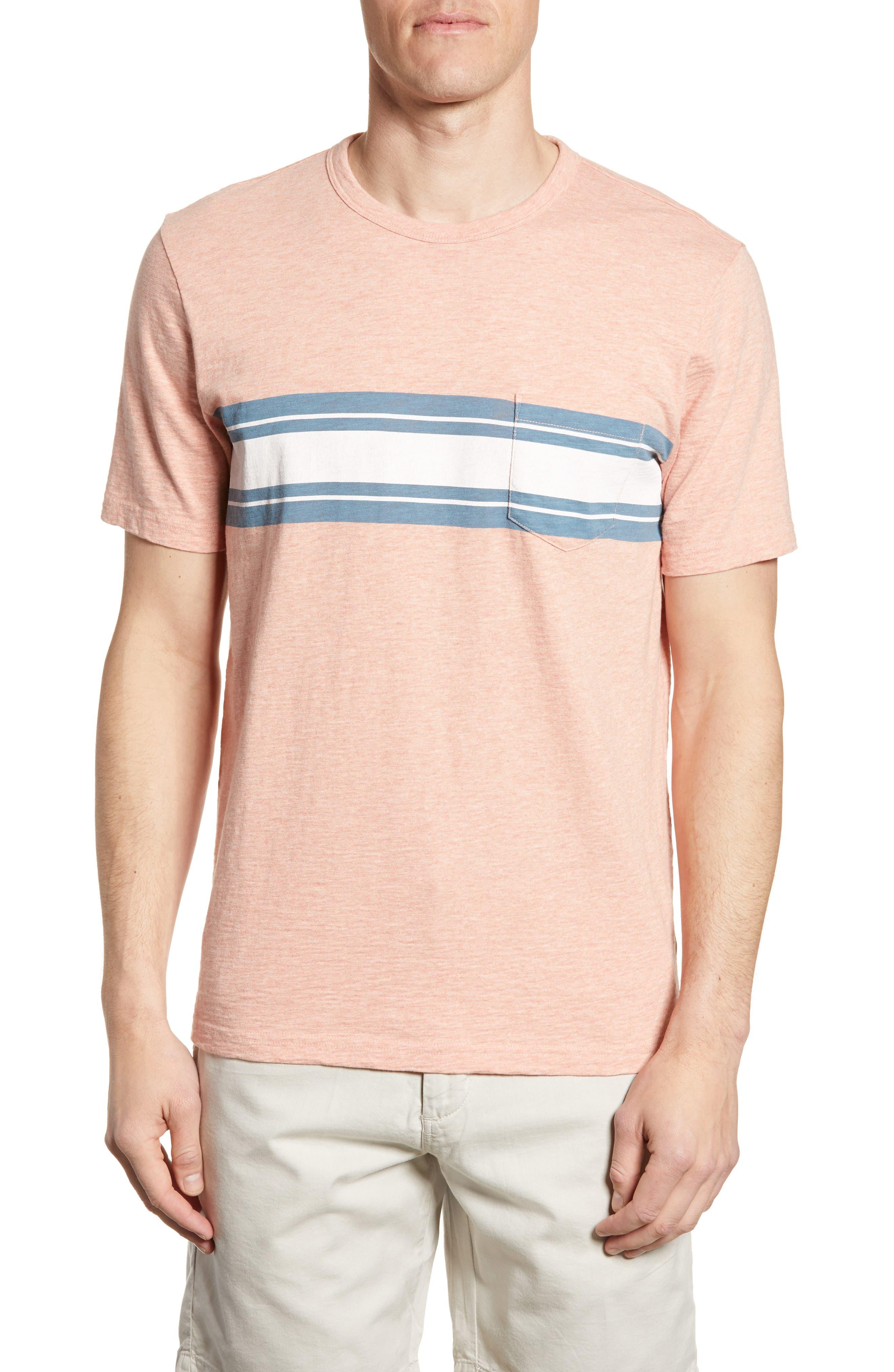 Faherty Surf Stripe Pocket T-Shirt, Coral