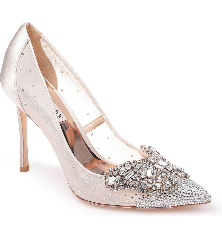 BADGLEY MISCHKA COLLECTION Badgley Mischka Quintana Crystal Embellished Pump, Main, color, IVORY SATIN/ MESH