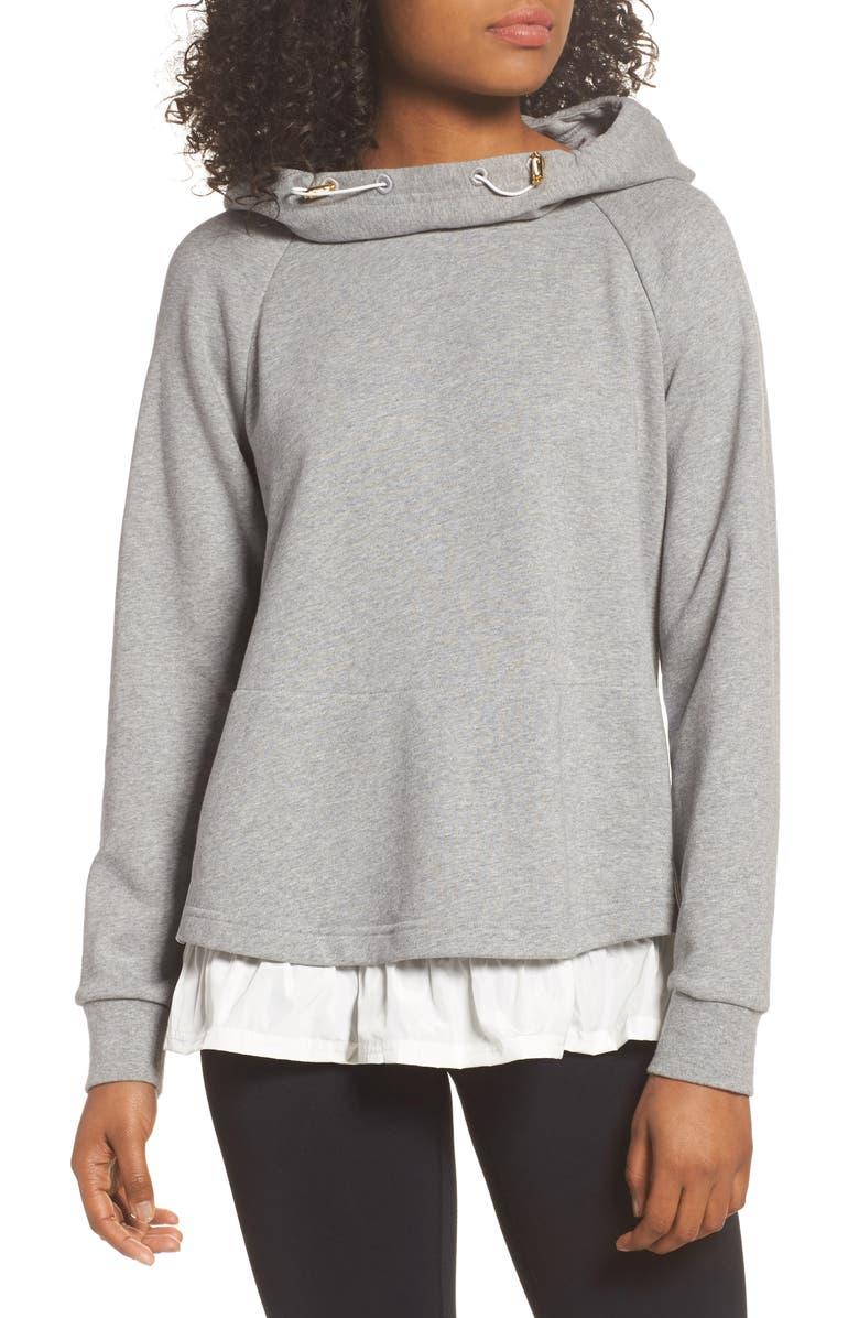 KATE SPADE NEW YORK ruffle hoodie sweatshirt, Main, color, 088