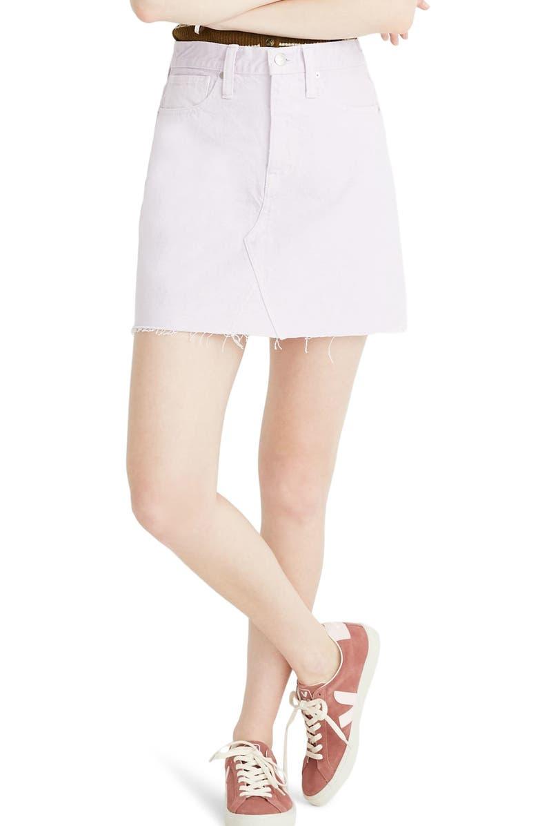 MADEWELL Garment Dyed Denim A-Line Miniskirt, Main, color, 500