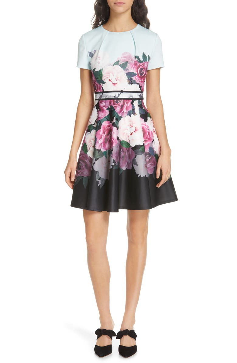 TED BAKER LONDON Wilmana Magnificent Skater Dress, Main, color, MINT